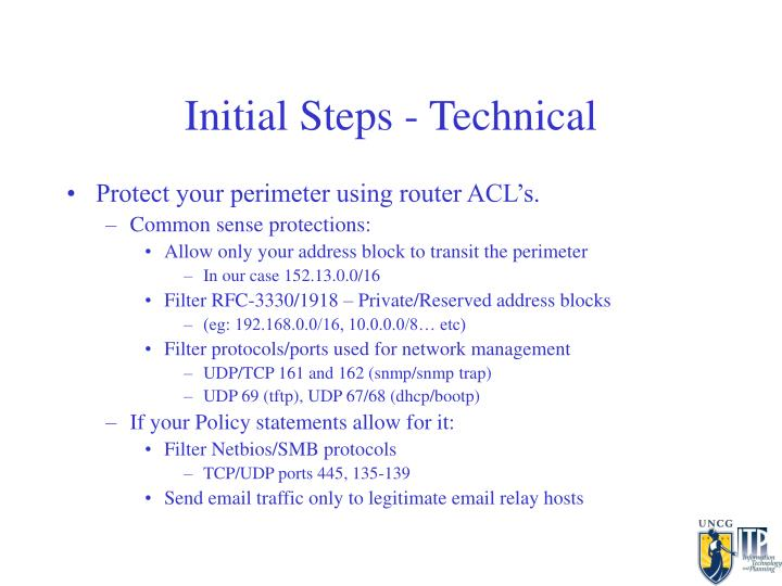 Initial Steps - Technical