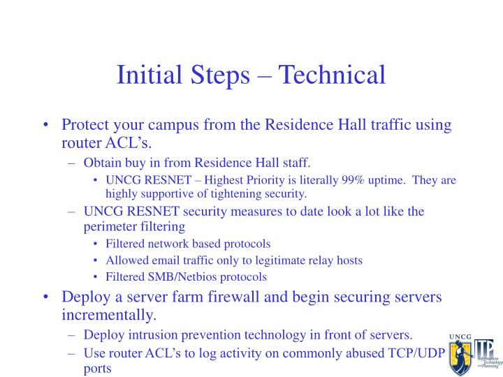 Initial Steps – Technical