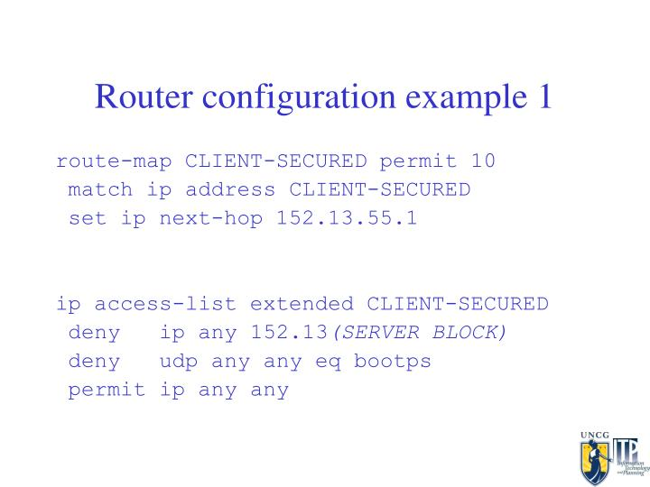 Router configuration example 1