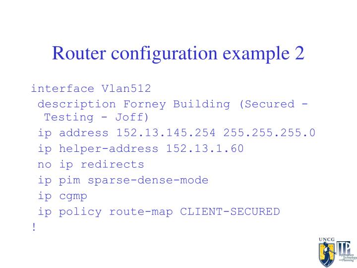 Router configuration example 2