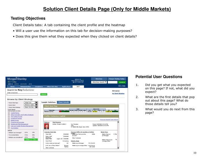 Solution Client Details