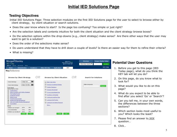 Initial IED Solutions Page