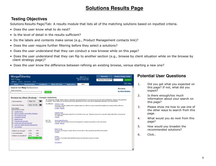 Solutions Results Page