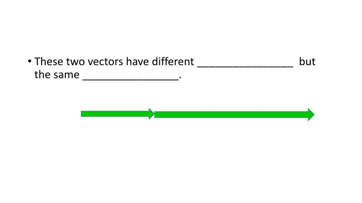 These two vectors have different ________________  but the same ________________.