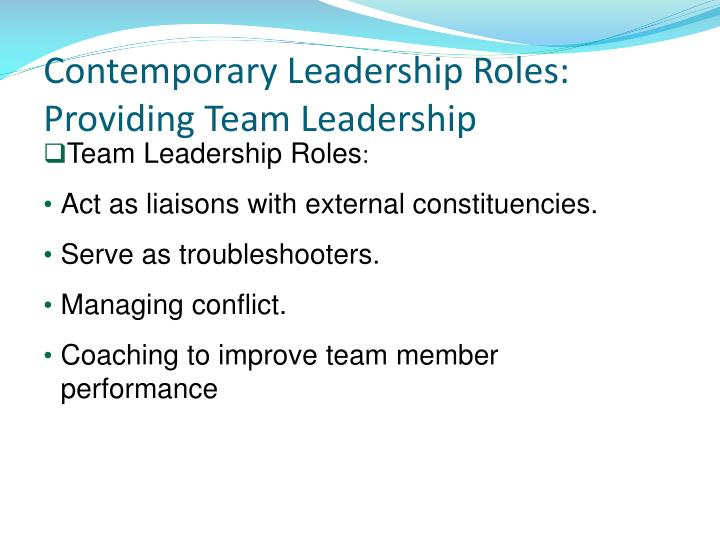 Contemporary Leadership Roles: Providing Team Leadership