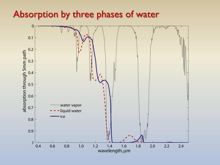 Absorption by three phases of water