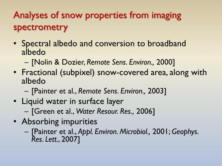 Analyses of snow properties from imaging spectrometry