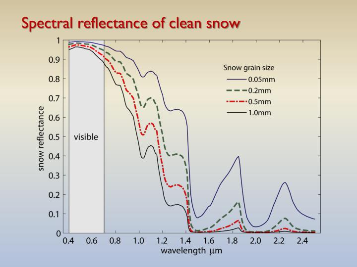 Spectral reflectance of clean snow