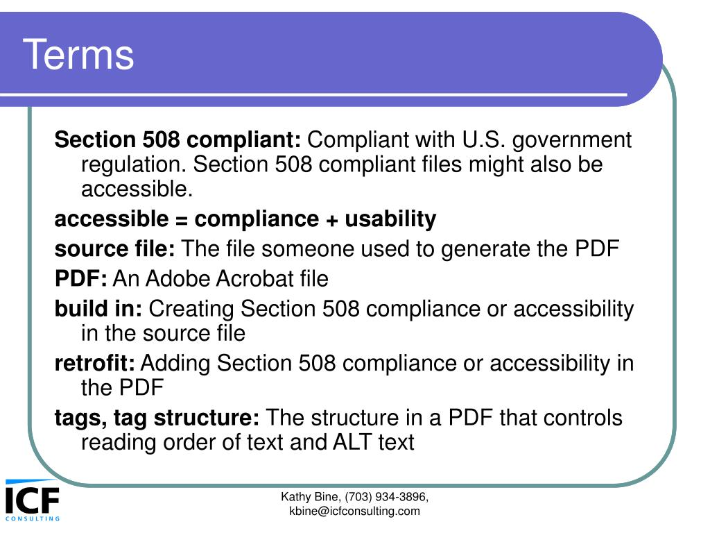 PPT - Section 508 compliance, accessibility, and Adobe ...