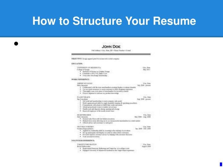 how to structure your resume n.