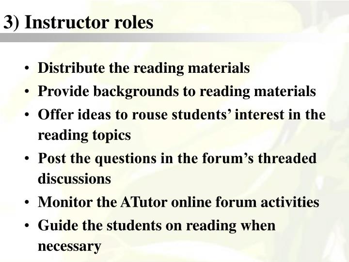 3) Instructor roles