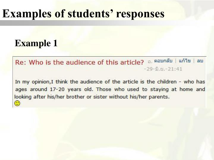 Examples of students' responses