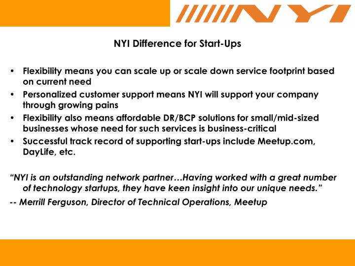 NYI Difference for Start-Ups