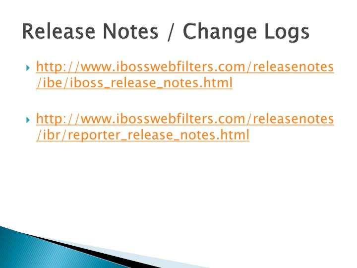 Release notes change logs