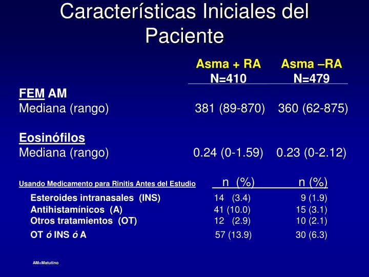 Características Iniciales del Paciente