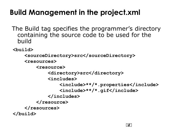 Build Management in the project.xml