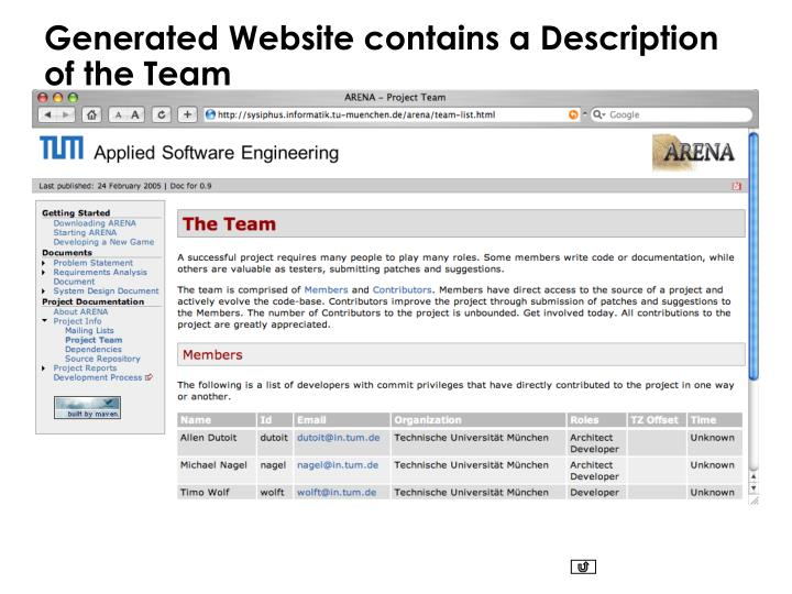 Generated Website contains a Description of the Team