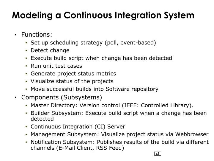 Modeling a Continuous Integration System