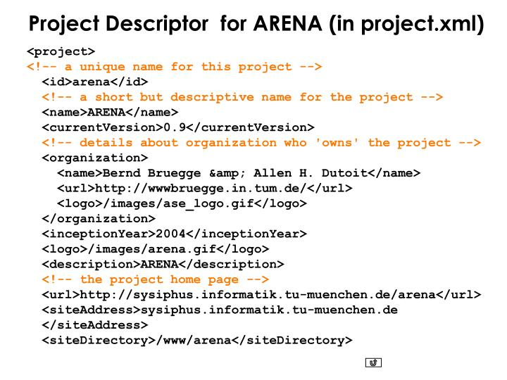 Project Descriptor  for ARENA (in project.xml)
