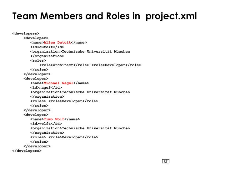 Team Members and Roles in  project.xml