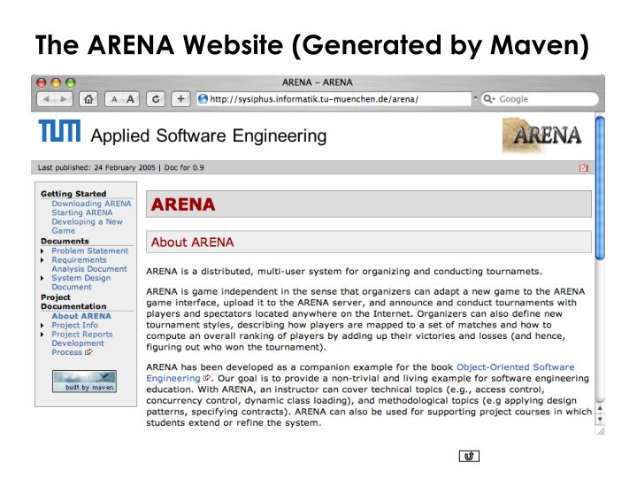 The ARENA Website (Generated by Maven)
