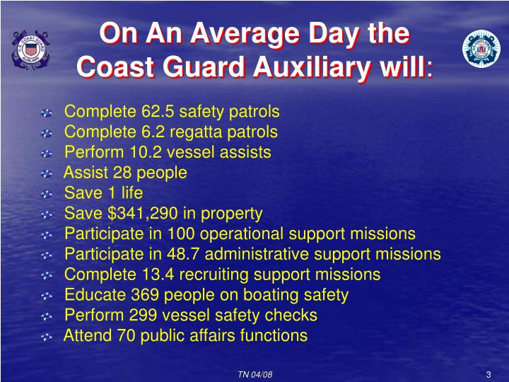 On an average day the coast guard auxiliary will