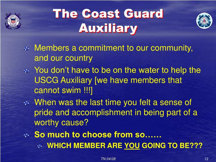 The Coast Guard Auxiliary