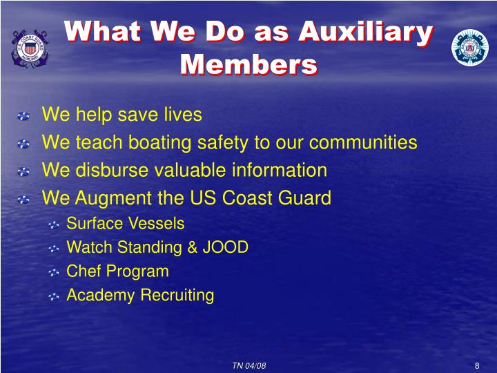 What We Do as Auxiliary Members