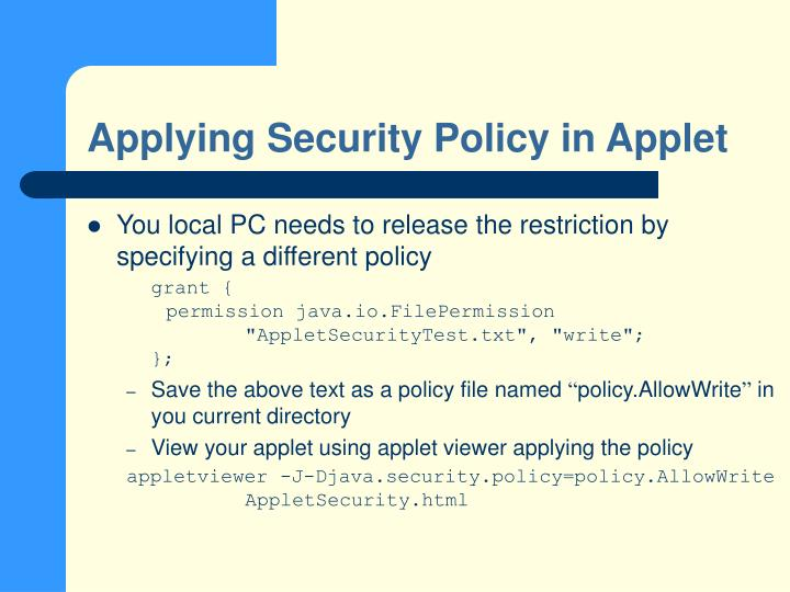 Applying Security Policy in Applet