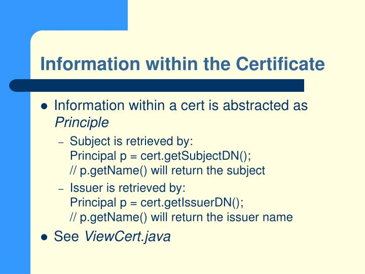 Information within the Certificate