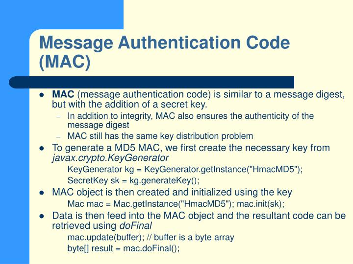 Message Authentication Code (MAC)