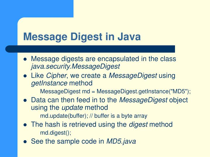 Message Digest in Java