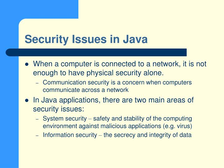 Security issues in java