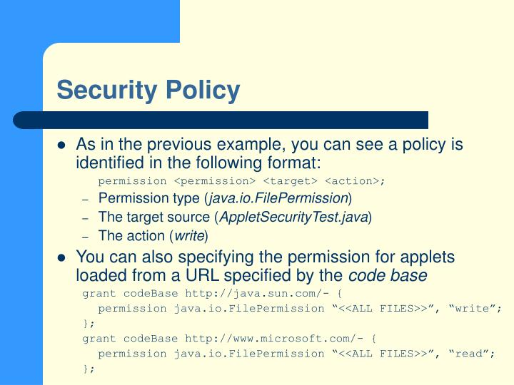 Security Policy