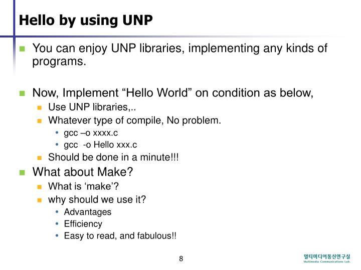 Hello by using UNP