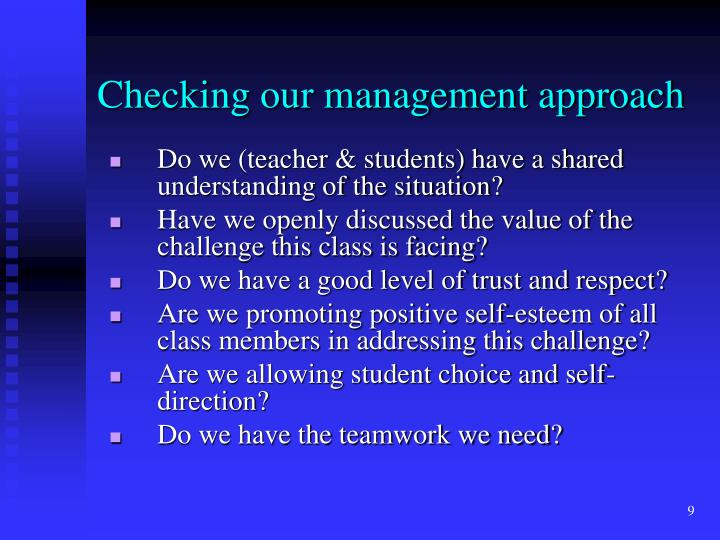 Checking our management approach