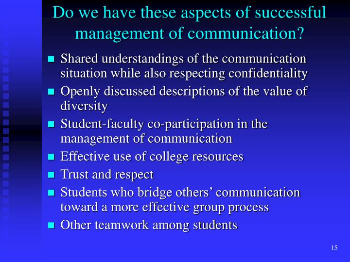 Do we have these aspects of successful management of communication?