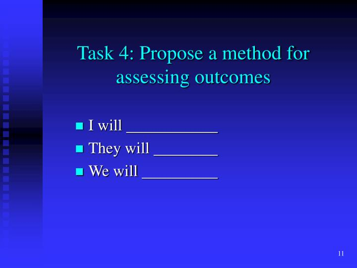 Task 4: Propose a method for assessing outcomes