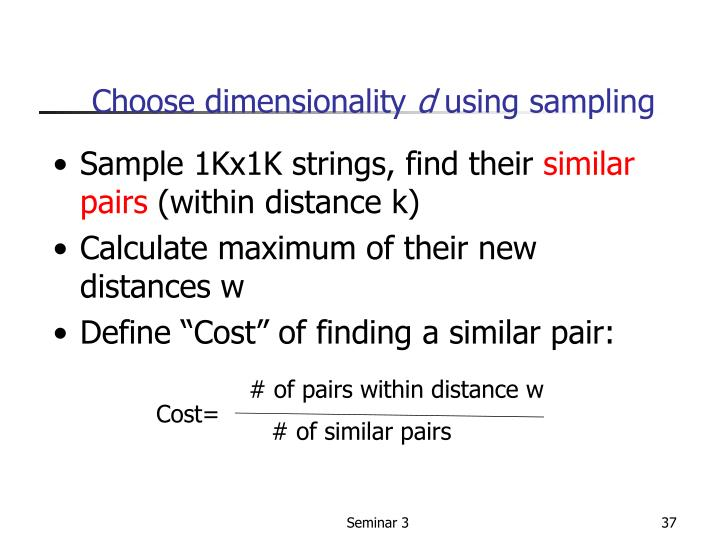 # of pairs within distance w