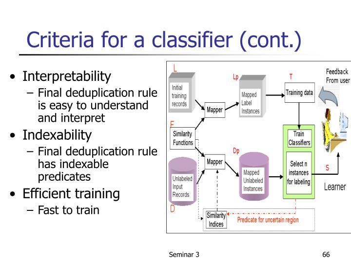 Criteria for a classifier (cont.)
