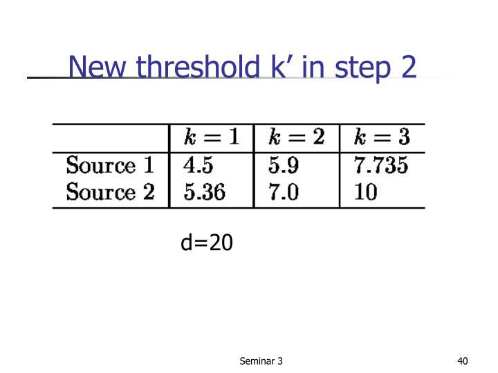 New threshold k' in step 2