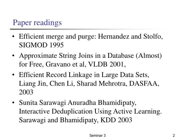 Paper readings