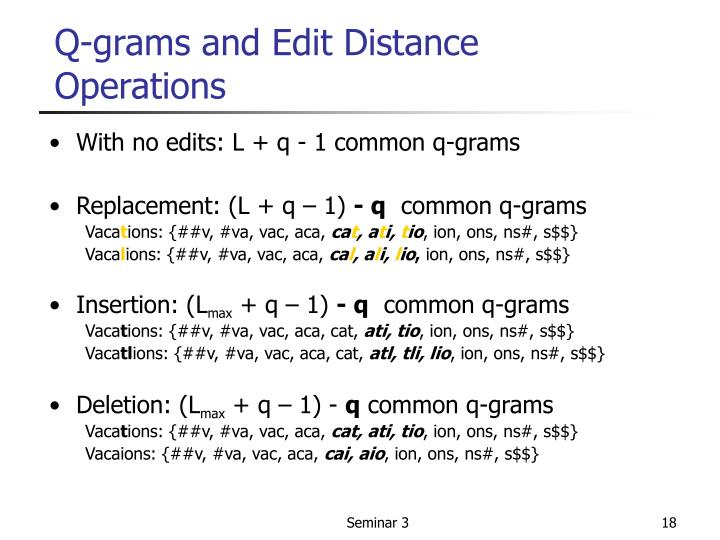 Q-grams and Edit Distance Operations