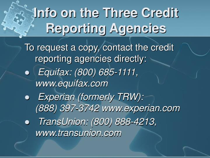 how to get credit report from all three agencies