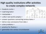 high quality institutions offer activities to create complex networks