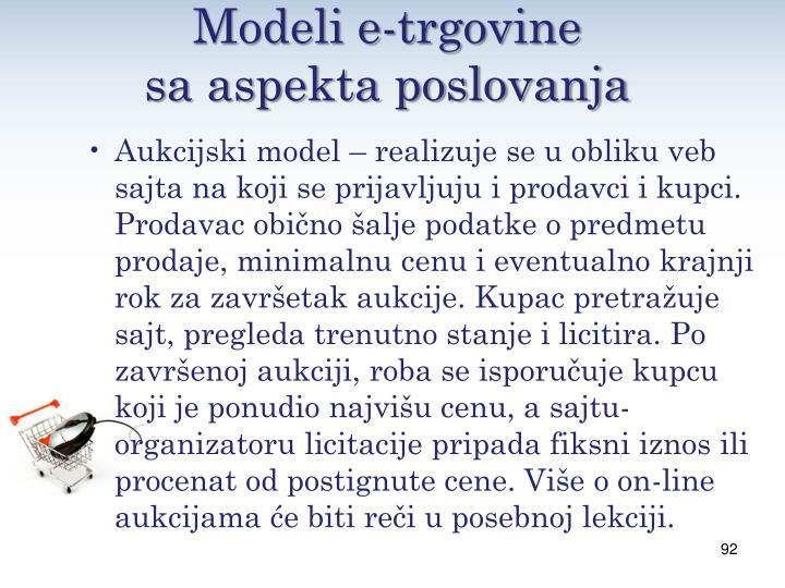 Modeli e-trgovine                   sa aspekta poslovanja