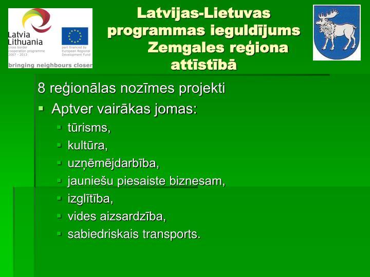 Latvijas-Lietuvas programmas ieguldījums