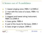 6 senses out of 8 candidates