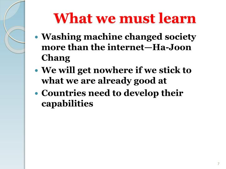 What we must learn