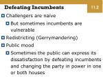 defeating incumbents
